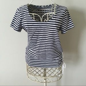 J.Crew Striped Side Lace Up Tee - S
